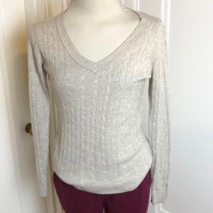 Ann Taylor Loft tan Cable-knit v-neck sweater